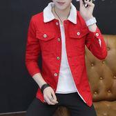 週年慶優惠-牛仔夾克男士韓版修身秋冬裝外套潮男裝棒球服外衣男