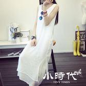 棉麻洋裝-夏季文藝棉麻無袖雙層裙子白色亞麻長款打底連身裙女背心長裙