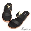 拖鞋 V型金釦寬版平底拖鞋-黑