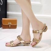 夏季 女士時尚粗跟 拖鞋 新款 中跟外穿水鉆高跟女涼拖中大尺碼高跟鞋 超值價