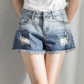 短褲 大碼胖mm高腰牛仔短褲寬松百搭破洞a字闊腿熱褲 巴黎春天