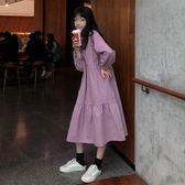 韓版學院風2019早春新款潮寬松顯瘦百搭學生純色長袖打底洋裝女 後街五號