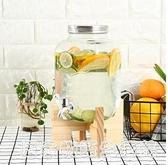 4升8升玻璃瓶 木架子字母果汁罐無鉛玻璃帶水龍頭不銹鋼釀酒瓶酵