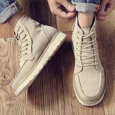 男靴子 馬丁靴 秋冬新款工裝潮高幫復古英倫風男靴厚底增高男士軍靴男短靴《印象精品》q1380