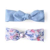 美國 JoliI Sophie 棉質髮帶兩件組 藍白條紋花卉