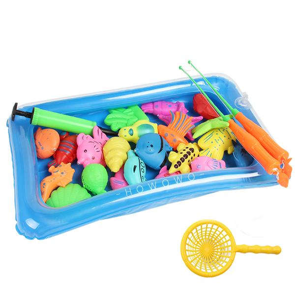 充氣魚池釣魚組 (25入) 磁性釣魚遊戲 撈魚玩具 兒童釣魚 磁性魚竿 釣魚玩具 3053