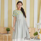 【Tiara Tiara】女神洋裝 亮麗黃玫瑰印花圖騰短袖洋裝(灰綠)
