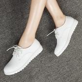 牛津鞋 春秋英倫風女鞋學生小白鞋繫帶平底皮鞋平跟休閒鞋白色鞋子女單鞋 歌莉婭