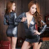 緊身包臀短裙情趣皮衣女內衣睡衣黑色漆皮制服誘惑透視套裝743號