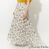 ❖ Summer ❖ 花朵圖案打褶長裙 - Green Parks