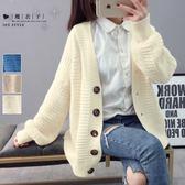【QV2652】魔衣子-純色寬鬆針織毛衣外套