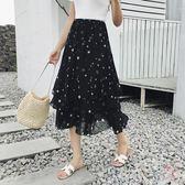 (百貨週年慶)大尺碼長裙不規則黑波點半身裙女雪紡魚尾裙大尺碼鬆緊腰中長裙子