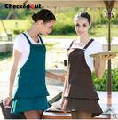 韓版可愛圍裙服務員廚房花店做飯女咖啡奶茶美甲店圍裙工作服