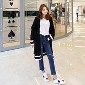梨卡 - 秋冬氣質甜美純色線條條紋撞色寬鬆中長版毛衣針織外套BR127