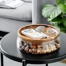 玻璃水果盤 創意木蓋 收納盤 零食盤 水...