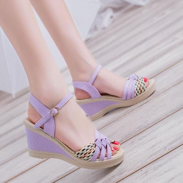 楔型鞋 2021夏季韓版舒適坡跟女涼鞋厚底高跟鞋平底防水臺露趾學生休閒鞋 韓國時尚週