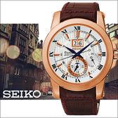 【僾瑪精品】SEIKO PREMIER 羅馬年曆人動電能復古男用腕錶-銀x玫塊金框/7D56-0AB0P(SNP096J1)