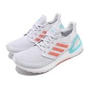 adidas 慢跑鞋 UltraBOOST 20 Primeblue W 灰 綠 女鞋 編織鞋面 運動鞋 【ACS】 EG0770