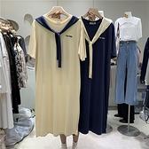韓系休閒風刺繡兩件式T桖洋裝-中大尺碼 獨具衣格 J3542