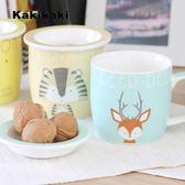 七夕全館85折 動物王國早餐杯陶瓷水杯帶蓋帶刻度杯泡奶杯