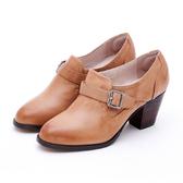 MICHELLE PARK 女爵風範 皮帶高跟踝靴-橘棕