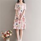 森女系洋裝 夏裝新款女裝正韓森女系文藝印花中長款寬鬆大碼連身裙a字裙-Ballet朵朵