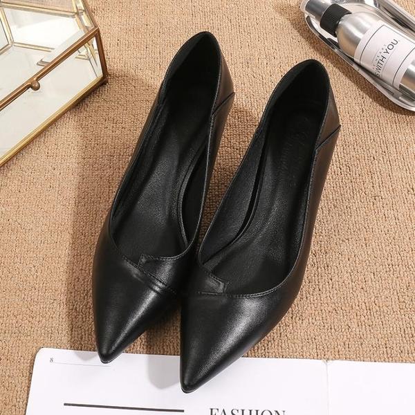 高跟鞋女尖頭職業OL正裝工作鞋中跟工鞋女黑色優雅百搭禮儀鞋細跟