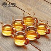 茶杯 瓷耐熱玻璃茶具功夫大小帶把茶杯主人品茗杯單杯喝茶水杯只裝-凡屋