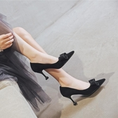 秋冬季新款百搭毛毛鞋女黑色高跟鞋女細跟尖頭單鞋女  夏季上新