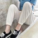 冰絲運動褲女夏季薄款寬鬆束腳ins潮高腰闊腿顯瘦防蚊休閒燈籠褲【快速出貨】