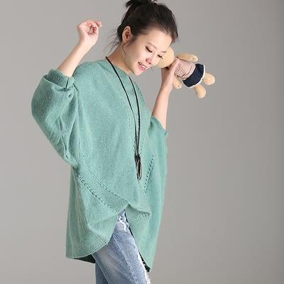 長袖針織蝙蝠衫 鏤空 立領 破洞 套頭 毛衣/2色M3001  - 夢想家- 0918