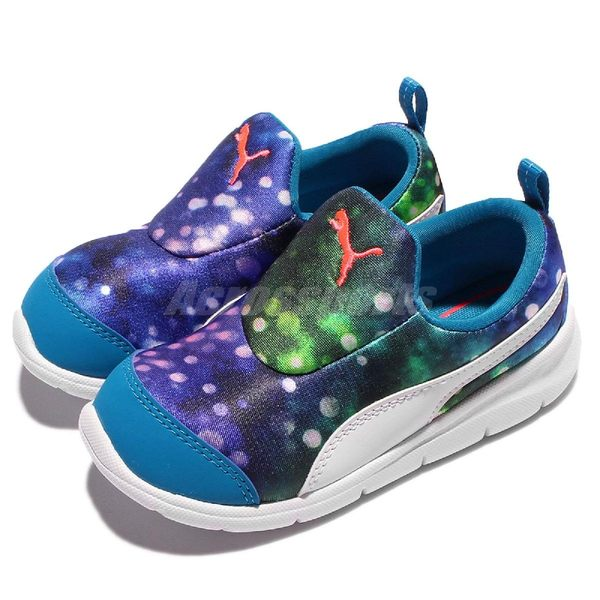 Puma 慢跑鞋 Bao 3 Lights Inf 藍 綠 白底 無鞋帶設計 童鞋【PUMP306】 18976301