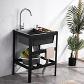 室外不銹鋼洗碗池雙水槽商用洗水槽洗手盆小尺寸雙池單個黑色店鋪 【全館免運】YYJ