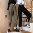 西裝褲 褲子女2021新款顯瘦百搭春季工裝哈倫西裝褲直筒寬鬆高腰ins潮 愛丫 新品