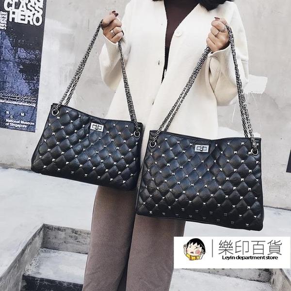 包包女2020新款韓版斜挎女包菱格包chic時尚錬條鉚釘單肩手提大包「樂印百貨」