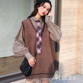 秋季新款韓版復古長袖襯衫v領毛衣馬甲針織衫女上衣學生 js19470『科炫3C』