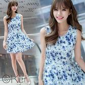 甜美顯瘦洋裝 無袖碎花連身裙 O-Ker LL88118-C