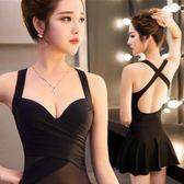 溫泉泳衣女保守韓國遮肚鋼托裙式小胸聚攏連身性感顯瘦泡溫泉泳裝   LannaS