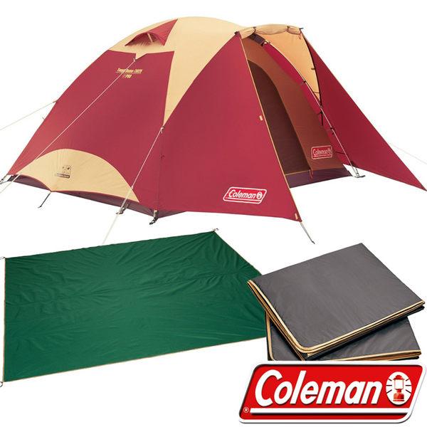 Coleman CM-27280-3025 勃根地 4-5人Tough圓頂帳篷套組(含防潮地墊 地布) 公司貨