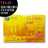 【黃色卡】TEL25 亞洲13國上網卡-5天不限流量吃到飽(此卡支援分享)