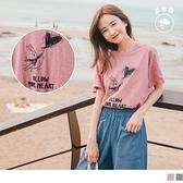 《AB12638-》台灣製造.竹節高含棉小兔印圖寬版上衣/T恤 OB嚴選