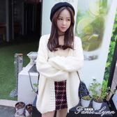 秋冬季韓版學院風寬鬆開衫毛衣甜美學生中長款純色針織衫女外套潮  范思蓮恩