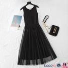 熱賣背心洋裝 2021年新款背心吊帶紗裙長款內搭蕾絲網紗打底黑色連身裙春夏大碼【618 狂歡】