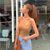無袖上衣 小可愛背心設計感小眾斜肩漏鎖骨半肩上衣夏修身性感不規則t恤女短袖H503-B.1號公館