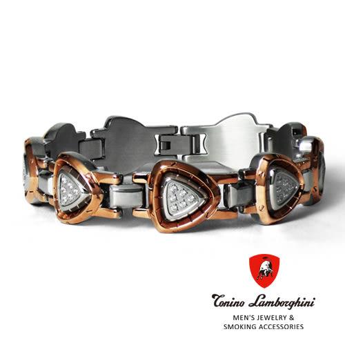 義大利 藍寶堅尼精品 - SPYDER Collection 晶鑽白鋼手鍊(玫瑰金色) ★ Tonino Lamborghini 原廠進口★