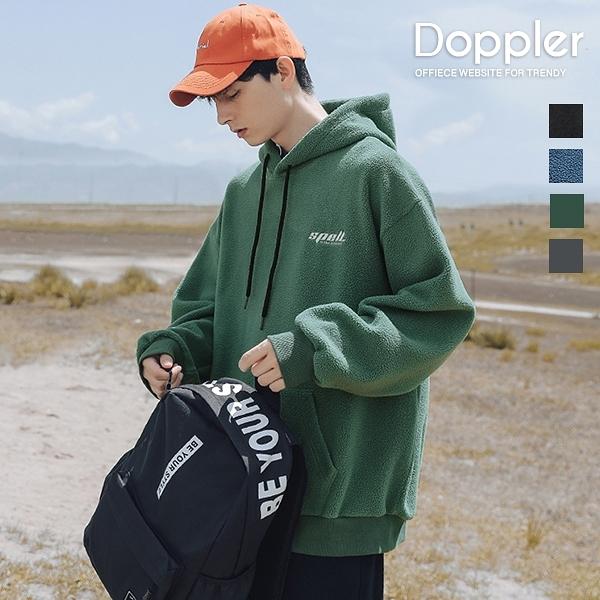 搖粒絨帽T 日系素色電繡SPELL設計 寬鬆落肩版型【TJG3042】現貨+預購