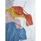 黑五好物節辰辰媽嬰童裝后背交叉銅氨絲女童短袖T恤夏季潮嬰兒寶寶短袖上衣 春生雜貨