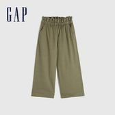 Gap女童 舒適彈力鬆緊寬腿休閒褲 608833-軍綠色