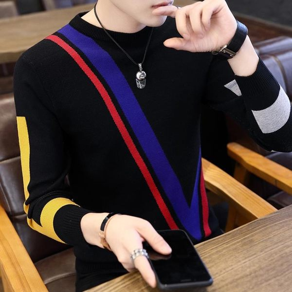 毛衣 男秋季毛衣正韓青少年修身套頭針織衫男士圓領拼色打底衫 酷我衣櫥