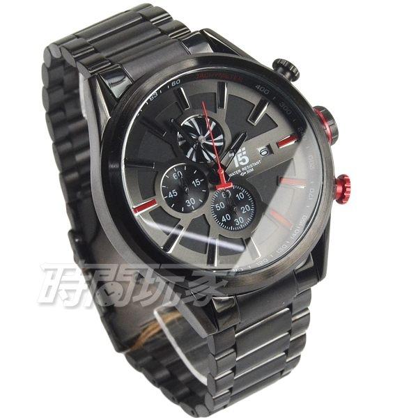 T5 sports time 大錶徑真三眼計時男錶 帥氣型男錶 防水手錶 日期視窗 IP黑x紅色 H3627G黑紅